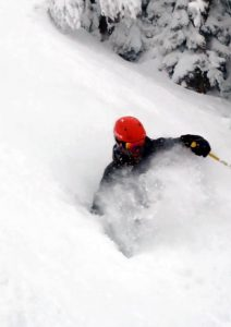 Powder skiing in the backcountry